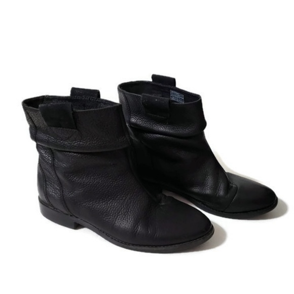 New Womens Tsubo Troian Black Leather Short Zip Up Ankle Heel Booties Boots